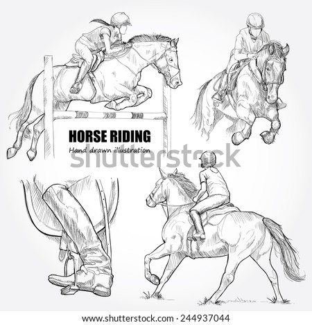 Illustration of Horse Riding. Hand drawn. - stock vector