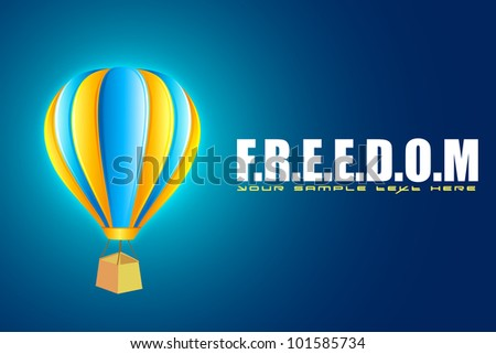 illustration of hot air balloon in motivational freedom background - stock vector