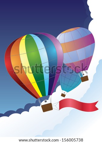 Illustration of hot air balloon with red ribbon on sky background.