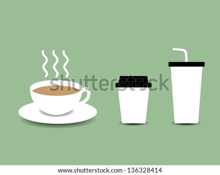 Illustration of Hot and Cold Coffee Cups - stock vector