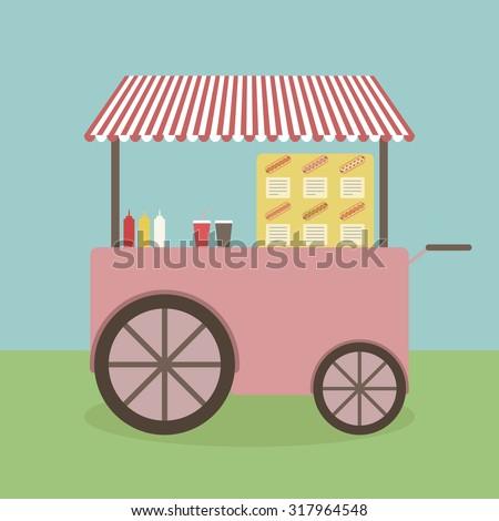 Illustration of hotdog stand. - stock vector