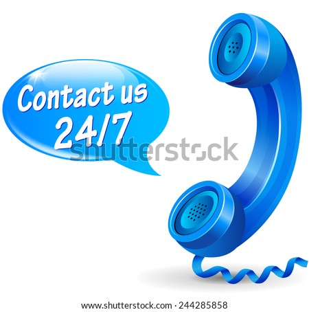 illustration of 24 hours service phone design icon - stock vector