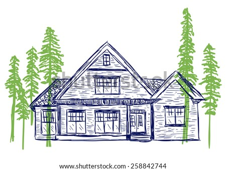 Illustration of house and trees, hand drawn style - stock vector