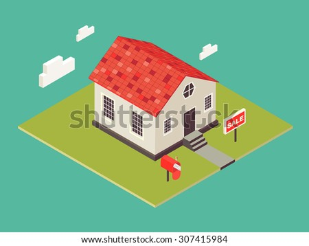 Illustration of house in 3d isometric style. Private house real estate icon for sale. American small cottage. Dwelling house in classicism style. Vector classicism town architecture. Townhouse. - stock vector