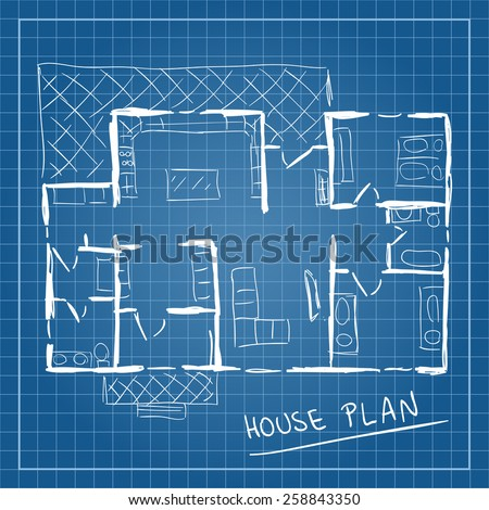 Illustration of house plan blueprint doodle style - stock vector