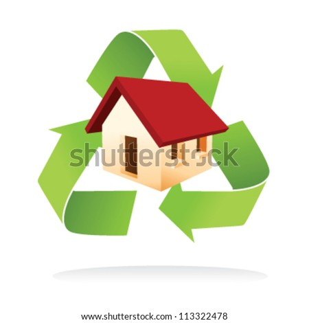 Illustration of house with green recycle symbol as a low impact home - stock vector
