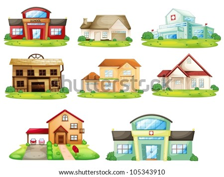 Illustration of houses, and other buildings - stock vector