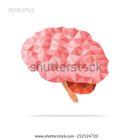 Illustration of human brain with faceted low-poly geometry effect, vector - stock vector