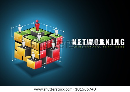illustration of human connecting with each other on networking background - stock vector