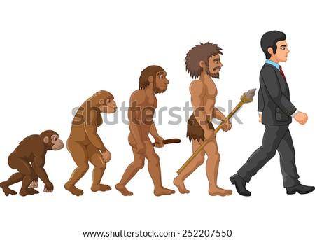 Illustration of human evolution - stock vector