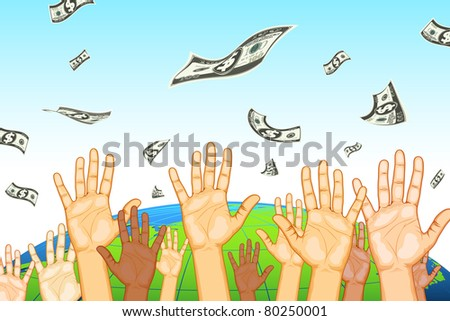 illustration of human hand catching dollar note on earth background - stock vector