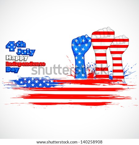 illustration of human hand in American flag color for Independence Day - stock vector
