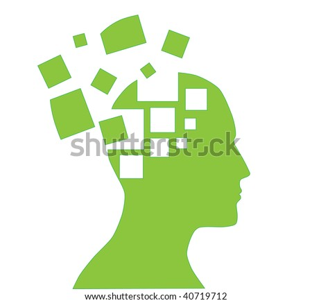 illustration of human head silhouette with puzzle pieces