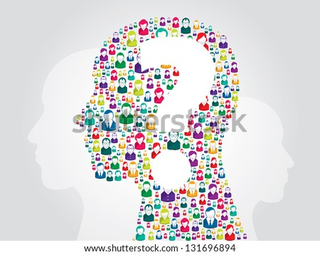 Illustration of human head with icons of people with question mark - stock vector