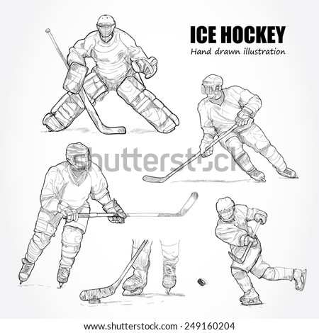 illustration of Ice Hockey. Hand drawn. - stock vector