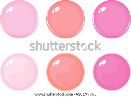 Illustration of icon bottons isolated on white. Set of Pink labels, 6 bottons. Multi-colored glass balls. Vector