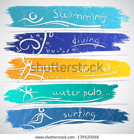 Illustration of icon collection with summer sports - stock vector