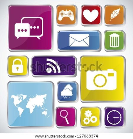 Illustration of icons of tablet apps, apps market, vector illustration