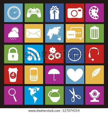 Illustration of icons of tablet apps, apps market, vector illustration - stock vector