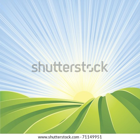 Illustration of idyllic green fields with sunshine rays and blue sky. A perfect landscape scene. - stock vector