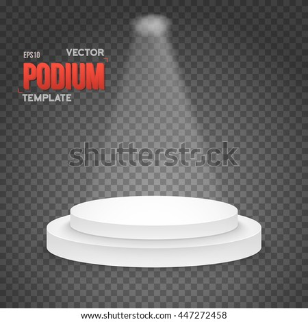 Illustration of Illustration of Photo realistic Winner Podium Stage with Stage Lights on Transparent Overlay Background - stock vector
