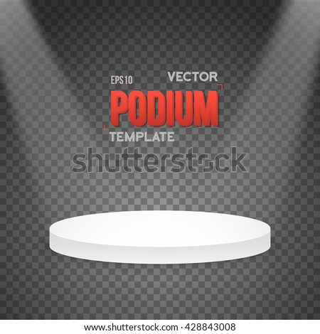Illustration of Illustration of Photorealistic Winner Podium Stage with Stage Lights on Transparent Overlay Background - stock vector