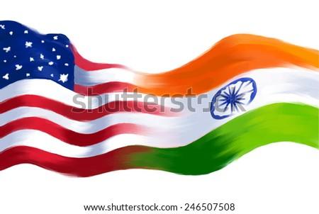 illustration of India-America relationship - stock vector