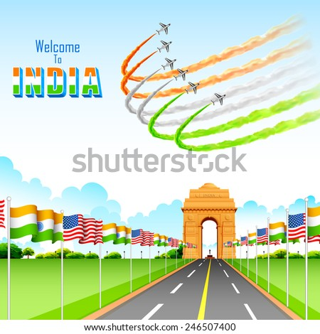 illustration of India-America relationship on India Gate - stock vector