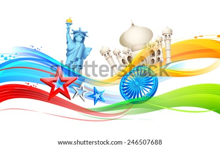 illustration of India-America relationship with monument - stock vector