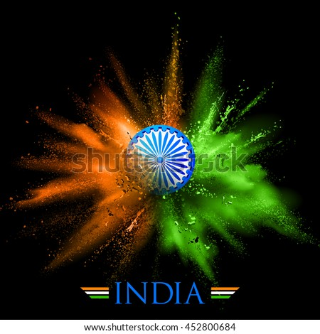 illustration of India background in tricolor and Ashoka Chakra with powder color explosion - stock vector