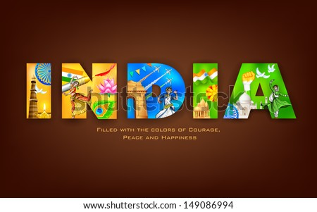 illustration of India background showing its culture - stock vector