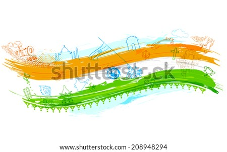 illustration of Indian background with monument - stock vector