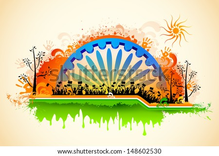illustration of Indian citizen waving flag on tricolor flag - stock vector