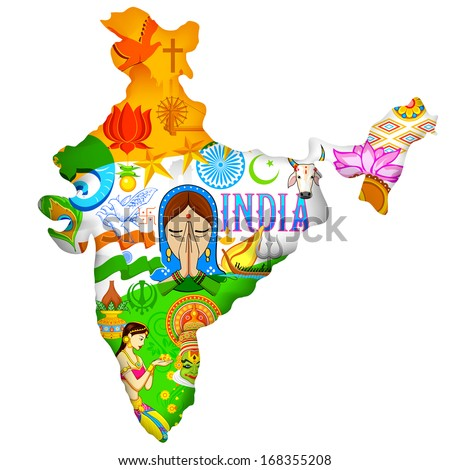 illustration of Indian map showing culture of India - stock vector