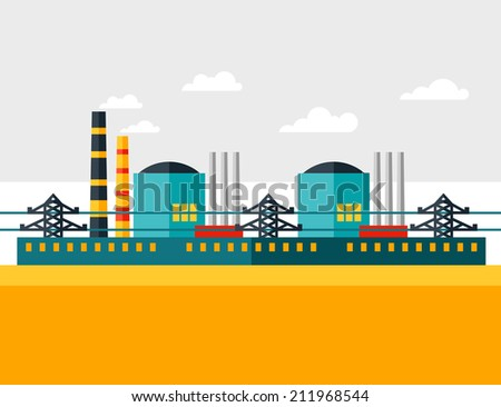 Illustration of industrial nuclear power plant in flat style. - stock vector