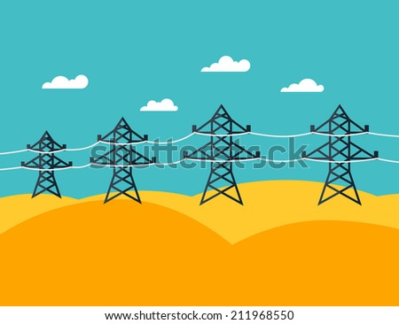 Illustration of industrial power lines in flat style. - stock vector