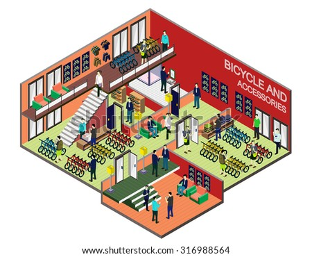 illustration of info graphic interior  room concept in isometric graphic
