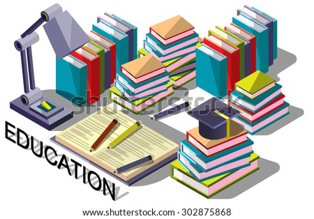 illustration of info graphic on line education concept in isometric graphic - stock vector