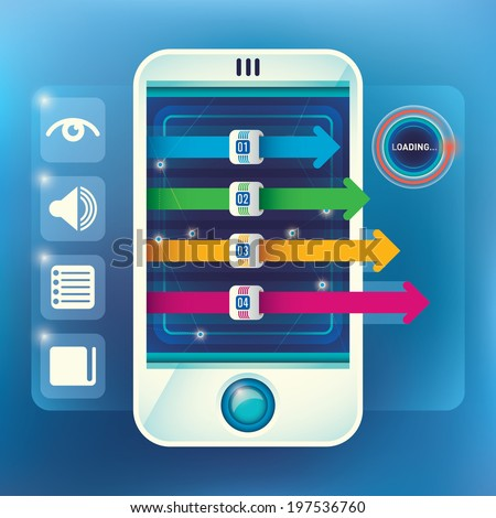 Illustration of info graphic with smart phone. Vector illustration. - stock vector