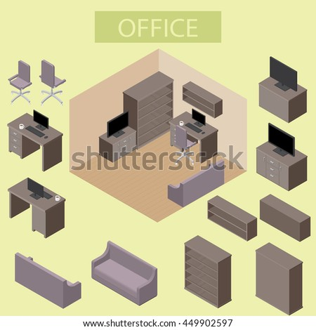 Illustration of infographic interior office concept in isometric graphic