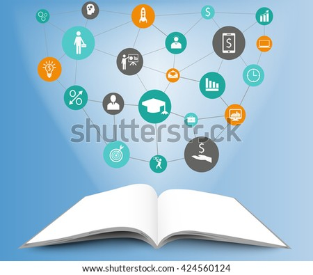 Illustration of infographic template in open book. Open book on blue background with icons. Infographic design concept - stock vector