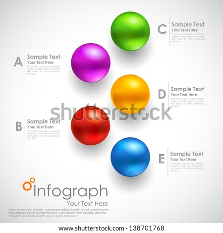 illustration of infographics options with colorful sphere for presentation and promotion - stock vector