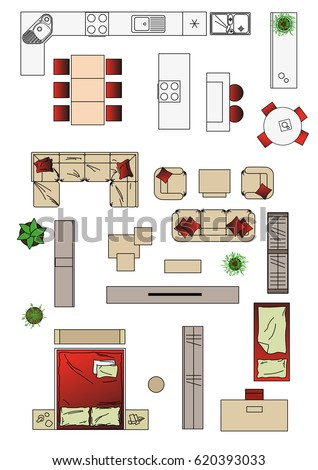 Illustration Interior Icons Top View Furniture Stock ...
