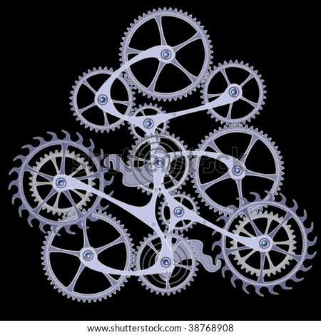 Illustration of interlocking cogs and gears - stock vector