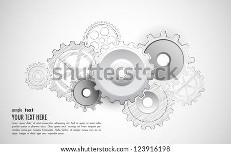illustration of interlocking cogwheel on sketchy background - stock vector