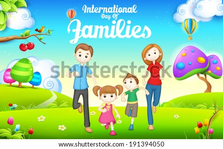 illustration of International day of Families concept - stock vector