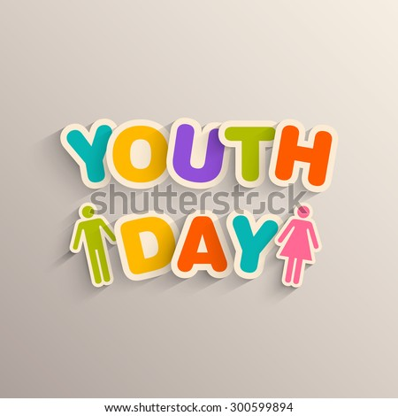 Illustration of International Youth day,12 August. - stock vector