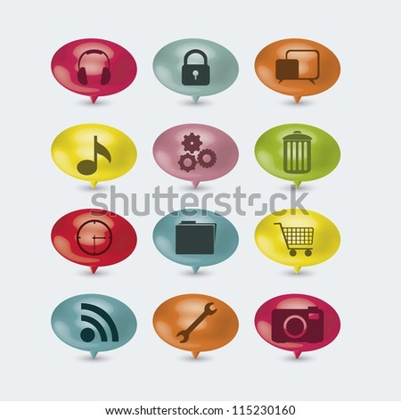 illustration of internet icons and buttons, cloud computers and communications technology, vector illustration