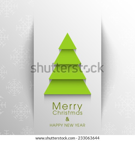 Illustration of intricate Christmas tree greeting card.