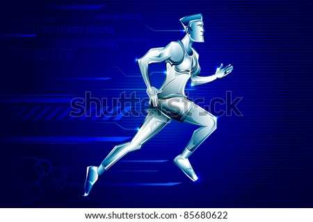 illustration of iron man running on technological background